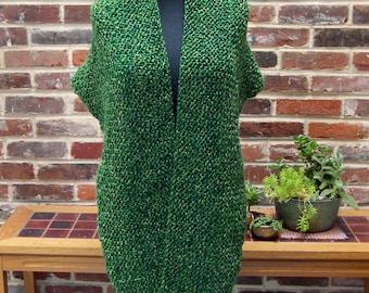 Custom Made Hand Knit Shoulder Shawl Scarf Cowl Wrap, Stylish Comfort Prayer Meditation, Emerald Green, FREE SHIPPING