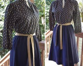 Deep NAVY 1970's Vintage Navy Blue + Tan Secretary Dress w/ Half Sleeves + Belt // by Shelby Place // size XS Small