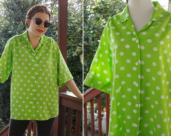 POLKA Dots 1980's Vintage LIME Green + White Button Down Shirt w/ Short Sleeves // by Blair // size Large XL