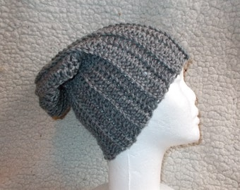 Clearance-Ribbed Slouchy  Beanie Hat-Heather  Gray