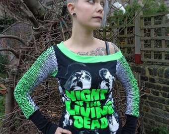 """Night Of The Living Dead off the shoulder upcycled tee by Hellbabies 34""""-36"""" chest"""