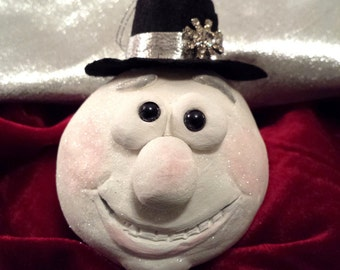 Adorable Hand Sculpted Paper Clay Snowball Snowman Snow Ball Ornament