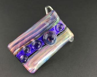 Glass Dichroic Belt Buckle Snap On Add 1 1/2 Inch Fashion Belts --Dan Rushin