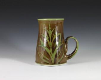Large Apple Green and Brown Mug