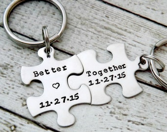personalized keychain - Couples Keychains, Better Together, puzzle keychains, wedding gift, personalized key chains, puzzle piece key chain