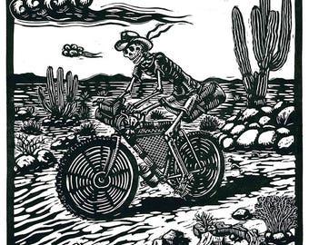 Bike packing skeleton print
