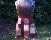 Handmade Hippie Patchwork Calico and Corduroy Apron Top ~Size M~