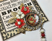 Cleveland Indians Vintage Collage brooch pin sports Tribe rhinestone
