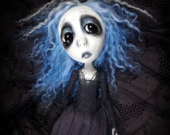 Loopy Southern Gothic Art Doll Victorian Dark Goth Ghostly Sapphire