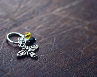 Honey Bee - Silver - Knit or Crochet - Individual Stitch Marker or Place Holder