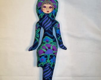 Midnight Dreams fantasy cloth art doll form w/face cab 12 in. tall You finish her Bead Decorate