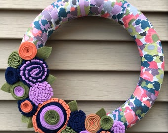 Mother's Day Wreath - Spring Wreath - Felt Flower Wreath - Flower Wreath - Mother's Day Flower Wreath -