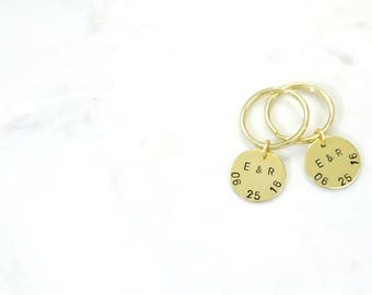 SET of 2 COUPLE'S ANNIVERSARY Hand Stamped Metal Brass Key Ring