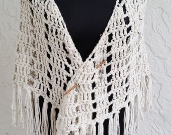 hand crochet Shawl Capelet shoulder wrap womens accessories chic lacy oatmeal ~ stylish wrap ~ oatmeal