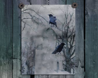 Gothic Ravens, Photo-Art, Crows, Blackbirds On Gravestones, Gray Watercolors, Rooks Wall Decor, Goth Birds - Splash Of Gothic Crows