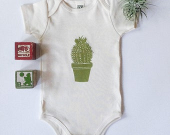 Cactus Plant Organic cotton 6-12 mo short sleeve onesie-made in USA-hand printed baby clothing