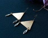 Trinity Triangle Earrings / Shiny Brass Triangle Earrings / Geometric / Triangle Dangly Earrings / Modern Brass Earrings
