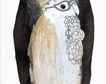 Bird Portrait with Glasses / watercolour gouache original