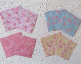 Decorative Mini Square Envelopes Cherry Blossoms Sakura Pattern Set of 8 (Choice B)
