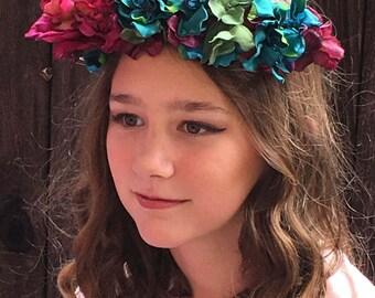 Flower Crown - Jewel Tone - wedding flower crown - hair wreath - Bridal flower - Boho girl  - floral crown Flower Girl - Coachella