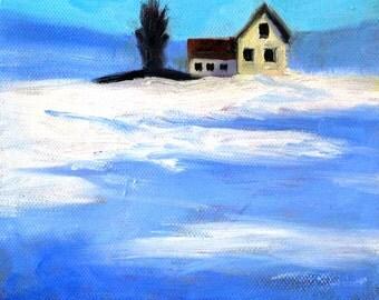 Snow Field, Landscape, Oil Painting, Original 6x6 Canvas, Small Winter Scene, Blue White, Farmhouse, Rural Country Scene, Wall Decor, Art