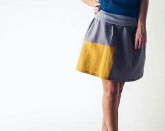 Linen skirt, Grey skirt, Short skirt, Womens skirt, Summer clothing, Festival clothing, Boho skirt, Knee length skirt, plus size skirt,