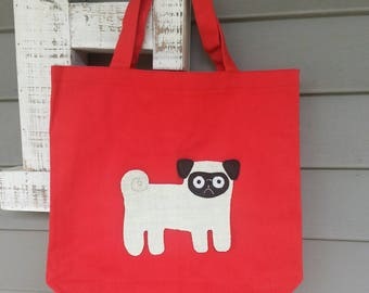 Pug Canvas Tote, Pug Applique Tote Bag, Pug Canvas Tote Bag, Pug Bag, Pug Tote Bag, Dog Tote, Red Tote Bag with Pug Applique, Pug Dog, Pug