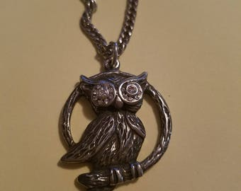 Vintage Silver Pewter Owl Pendant w/Rhinestones on Chain