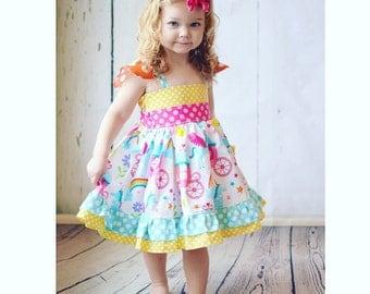 Little Girls Rainbow Dress- Unicorn Dress - Girls Rainbow Birthday Party Dress- Girls Unicorn Dress- Unicorn Birthday Dress - Baby Unicorn