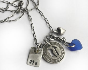 Sterling Cleveland Token Lake Erie Cobalt Blue Beach Glass Charm Necklace Shaker Heights Rapid Transit 216 Heart 36 Inch Cable Chain