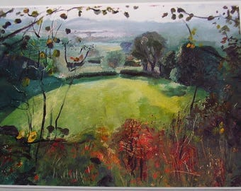 "English landscape print, ""Pasture"", fine art reproduction from original oil painting, on A6 to A3 size"