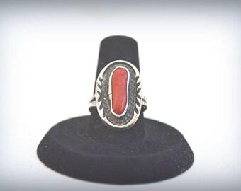 Red Coral Ring, Vintage Coral Ring, Native American Ring, Southwestern Ring,  Coral Ring, 1970's Ring, Size 7 Ring, Boho Ring