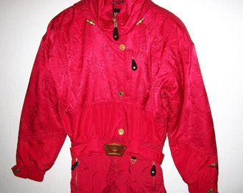"""Obermeyer Ski Suit - Ladies Size 8 (runs small!!!) - Red Hooded Insulated Brocade - Vintage 90s - Style """"Karina"""" - One piece Snowsuit"""