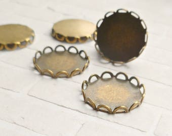 Brass Ox Plated 13mm Lace Edge Settings for Flat Cabs (6-9F-12)