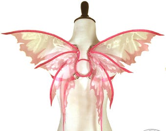 Odette No. 15 - Small Organza Fairy Wings in Pink - Strapless Convertable