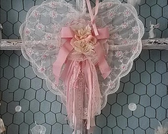 Pink Lace Heart, Vintage Wire Heart, Wedding Chair Sign, Flower Girl, Cake Table, Nursery Decor, Baby Shower, Shabby Chic, Holiday Wreath