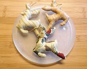Gold Reindeer Ornament Christmas Bowl Filler Holiday Decorations