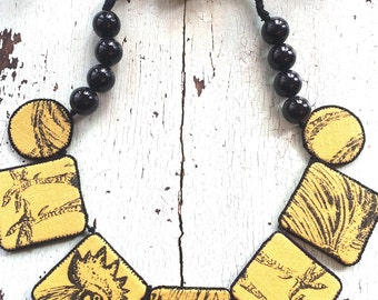 Textile Necklace - Mother Hen
