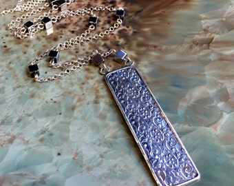 Silver Necklace, Silver Filigree pendant, Woodland Necklace, pyrite silver necklace, rectangle Pendant, long chain - Our Finest Days N2040