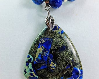 Blue Stone Pendant and Blue Stone Beads with Silver Plated Spacer Beads Beautiful Necklace