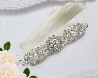 Pearl Bridal hair Accessory Wedding headband, Bridal headband Pearl wedding hair piece bridal silver hair vine crystal Pearl headband, Ivory