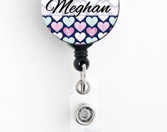 Retractable ID Badge Holder - Personalized Name - Preppy Heart Anchor Blue and Pink - Badge Reel