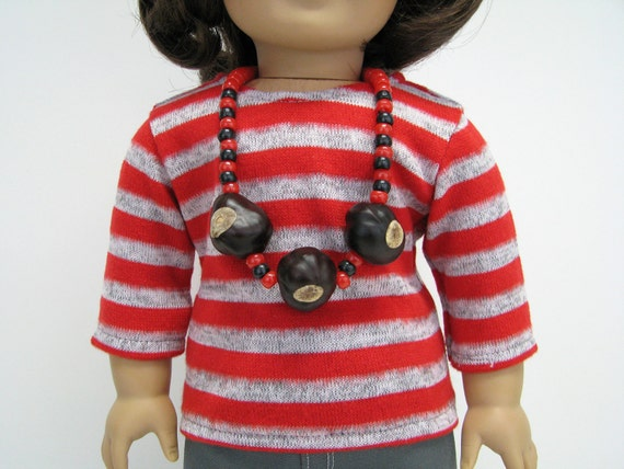 18 Inch Doll Ohio - Buckeye Necklace - Girl Doll Jewelry - Girl Doll Clothes - 18 Inch Doll Clothes - Red Beads - Real Buckeye Necklace