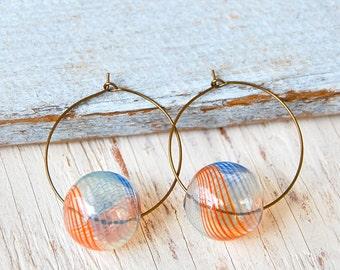 Orb earrings,large hoop earrings,orb hoop earrings, boho summer earrings. Tiedupmemories