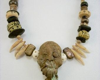 Mummified, Cat Teeth, VooDoo, Shrunken Head, Zombie Head Necklace