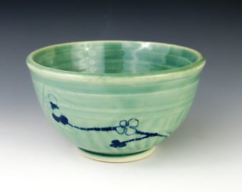 Small Green Bowl, Rice Bowl or Dip Bowl - Wheel Thrown Pottery