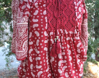 Angie off shoulder hippie shirt India print large rayon red paisley