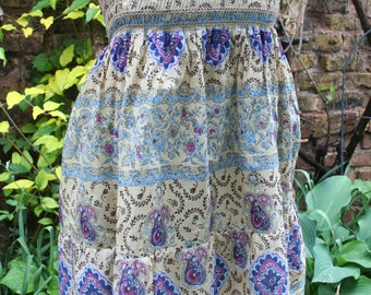 SALE was 24.00 Hippie dress yellow pink blue short tube top India print cotton mini dress
