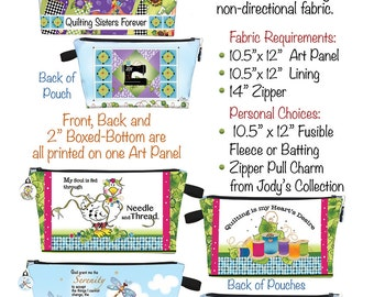Downloadable Pattern for Jody's Printed Fabric Zippered Pouches
