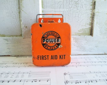 Vintage Interstate Power Company First Aid Kit Box - Wall Mounting